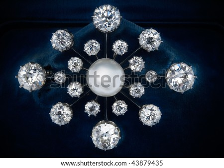 diamond brooch - stock photo