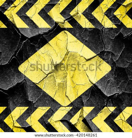 Diamond card background, black and yellow rough hazard stripes