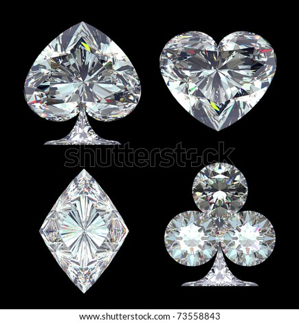 Diamond Card Suits isolated over black background - stock photo