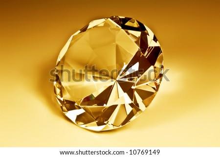 Diamond close-up in yellow - stock photo