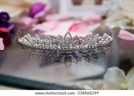 Diamond diadem on a black background with reflexion hd