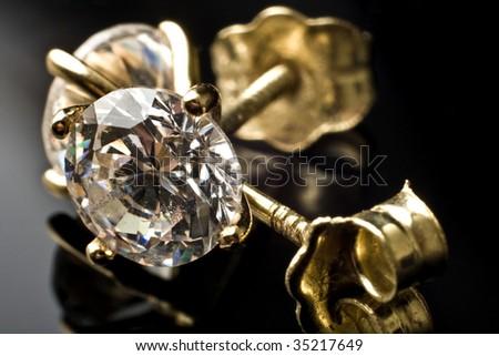 Diamond earrings - stock photo