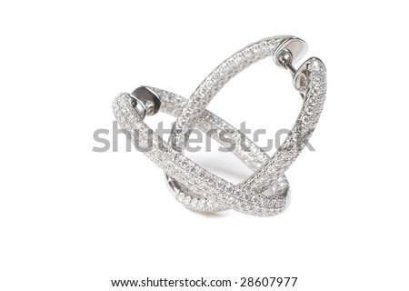 Diamond earrings from white gold - stock photo