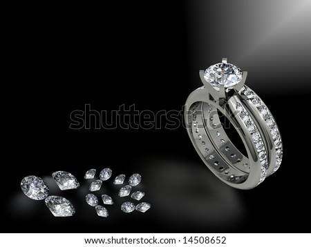Diamond engagement and wedding ring and loose diamonds - stock photo