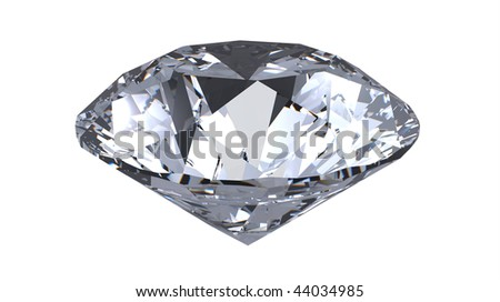 diamond gemstone, render,  isolated on white - stock photo