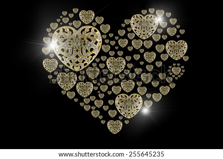 Diamond Gold heart flare and precious stones isolated on black background. - stock photo