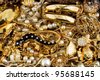 diamond gold jewelry precious pearl necklace ring background - stock photo
