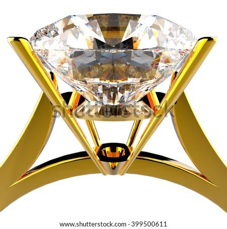 diamond gold ring 1 3d illustration - stock photo