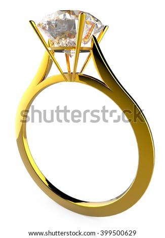 diamond gold ring 3 3d illustration - stock photo