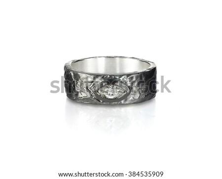 diamond gold wedding engagement band ring - stock photo