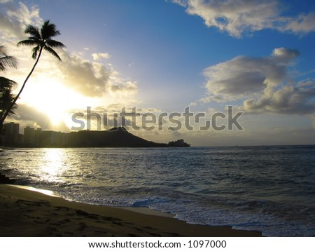 Diamond head early morning on waikiki beach on Hawaii - stock photo