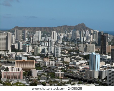 Diamond Head view with buildings - stock photo