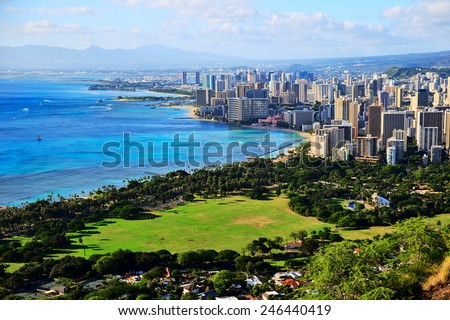 Diamond Head Waikiki Honolulu   - stock photo