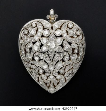 diamond heart pendant - stock photo