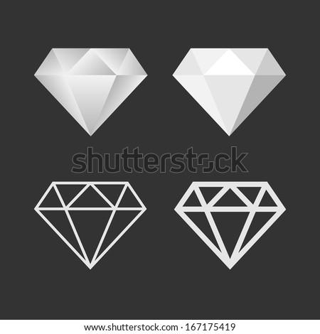 Diamond Icon And Emblem Set. Raster Version - stock photo