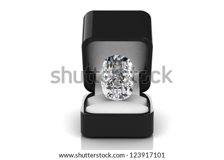 Diamond in a gift box - stock photo
