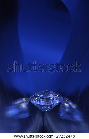 Diamond in blue light - stock photo