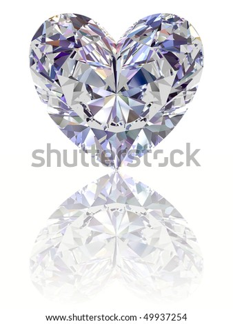 Diamond in shape of heart on glossy white background. High resolution 3D render with reflections - stock photo