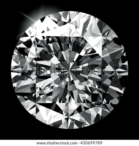 Diamond in top view close up isolated on black background, 3d illustration.
