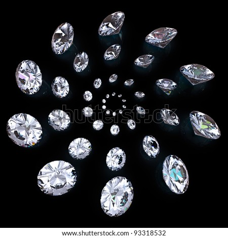 Diamond isolated on black background - stock photo