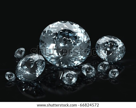 Diamond jewel isolated on black background. Beautiful sparkling diamond on a light reflective surface. High quality 3d render with HDRI lighting and ray traced textures. - stock photo