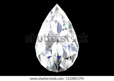 diamond jewel on black background - stock photo
