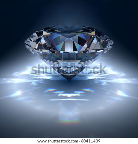Diamond jewel on blue background - stock photo