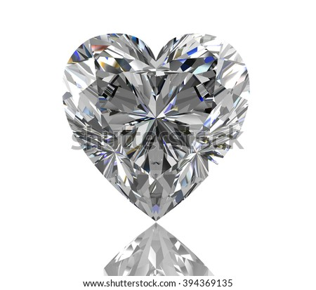 diamond jewel on white background. High quality 3d render - stock photo