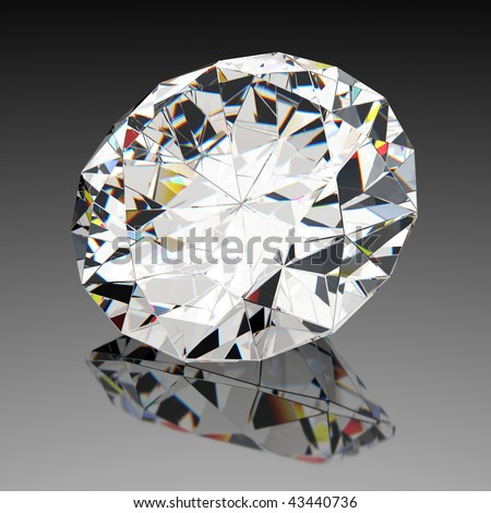 Diamond jewel with reflections on black background - stock photo