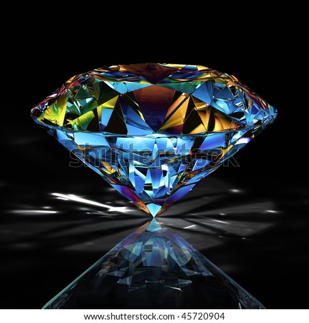 Diamond jewel with reflections on black background/