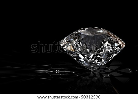 diamond jewel with reflections on black background. High quality 3d render with HDRI lighting and ray traced textures. - stock photo