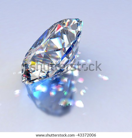 Diamond jewel with reflections on blue background - stock photo