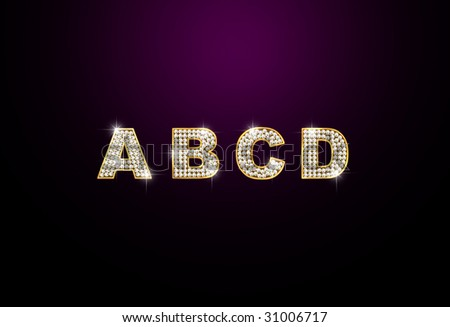 diamond letters A B C D on black background