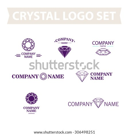 Diamond logo set. Jewellery logo collection. Rhinestone company. Rhinestone, crystal, diamond purple contoured icon. - stock photo