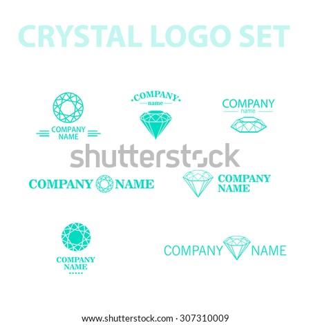 Diamond logo set. Jewellery logo collection. Rhinestone company. Rhinestone, crystal, diamond icon. - stock photo