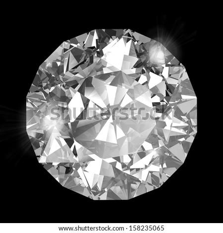 Diamond on black - stock photo