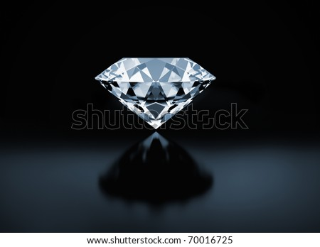 Diamond on black background - stock photo