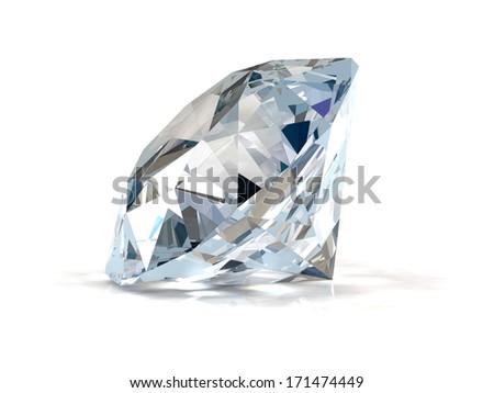 Diamond on white background. - stock photo