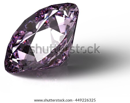 Diamond on white background with high quality. 3D illustration. 3D CG.