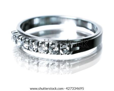 Diamond or brilliant ring, isolated on white.           - stock photo