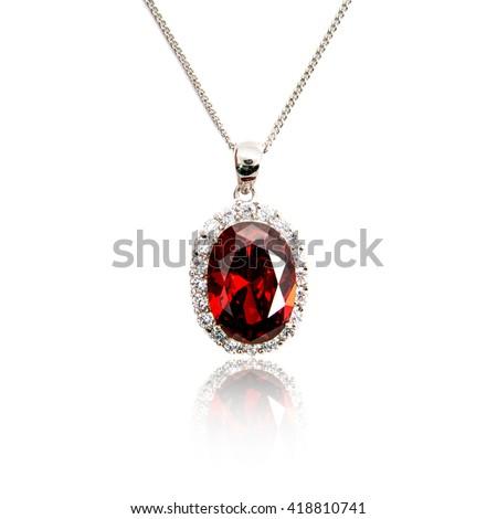 Diamond pendant isolated on white - stock photo