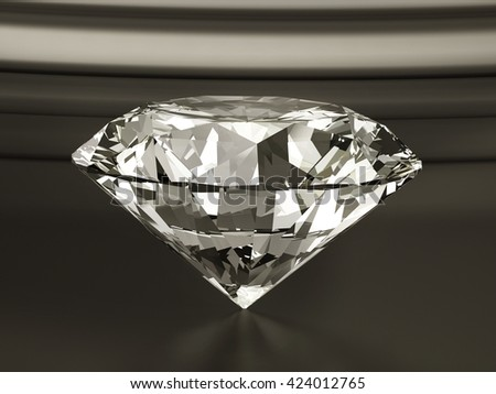 Diamond placed on Dark brown background.  3d illustration.