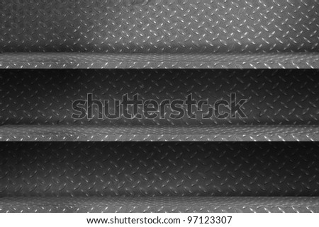 diamond plate metal shelf. grunge industrial interior Uneven diffuse lighting version. Design component - stock photo
