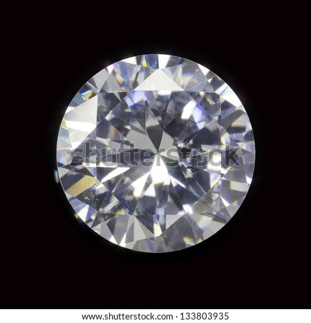 diamond realistic photo image - isolated on black background - stock photo