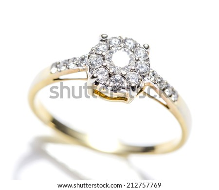 Diamond Ring Closeup from Top View on White background