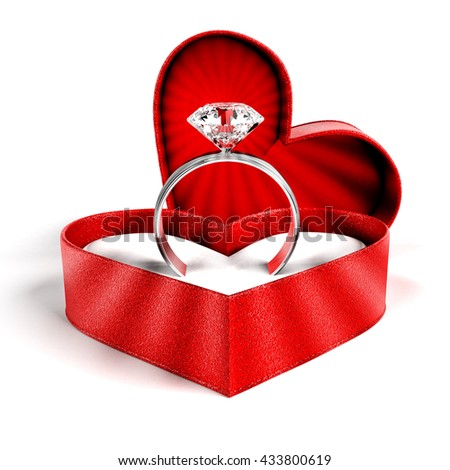 Diamond Ring 3D rendering - stock photo