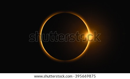 Diamond ring during solar eclipse. This is a digitally generated image prepared from scratch in image processing software.  - stock photo