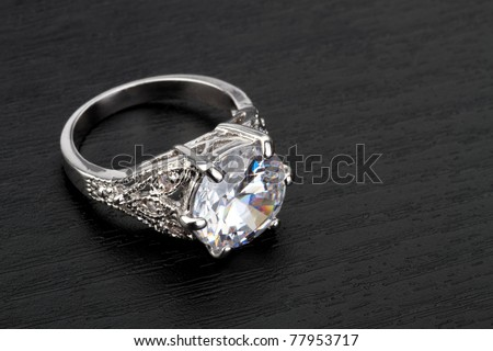 Diamond Ring in black background - stock photo
