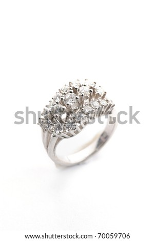 diamond ring isolated against a white background - stock photo