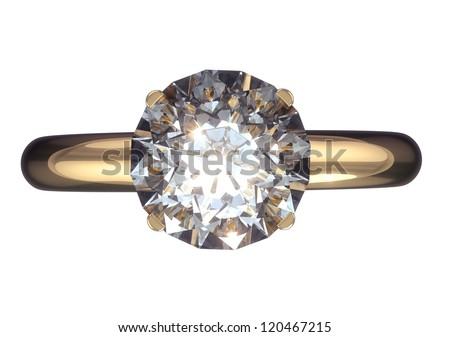 Diamond ring isolated with clipping path - stock photo